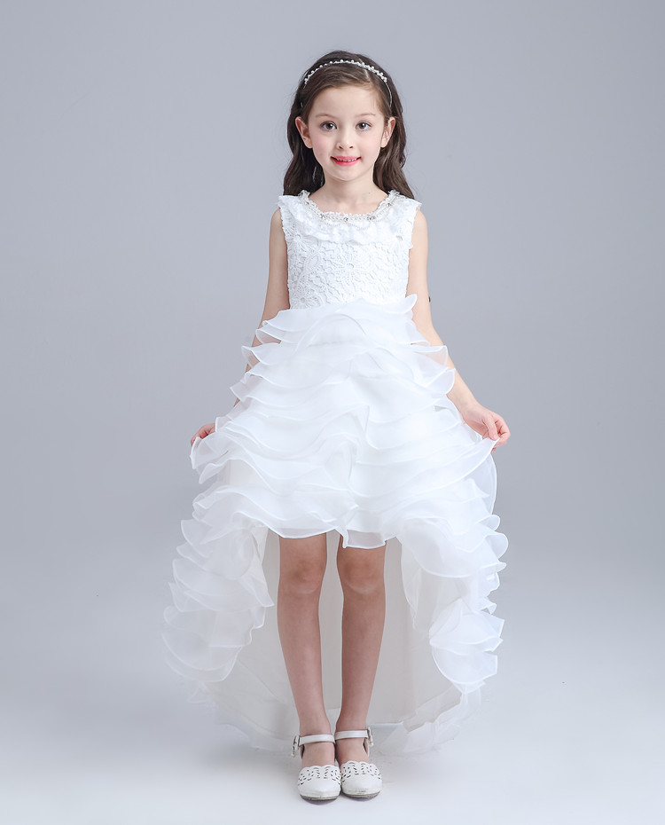 Top Quality Spring Summer Children's Clothing Girls Dresses Flower Girl Dresses Red Tail Wedding White Vest Princess Dress Show(China (Mainland))