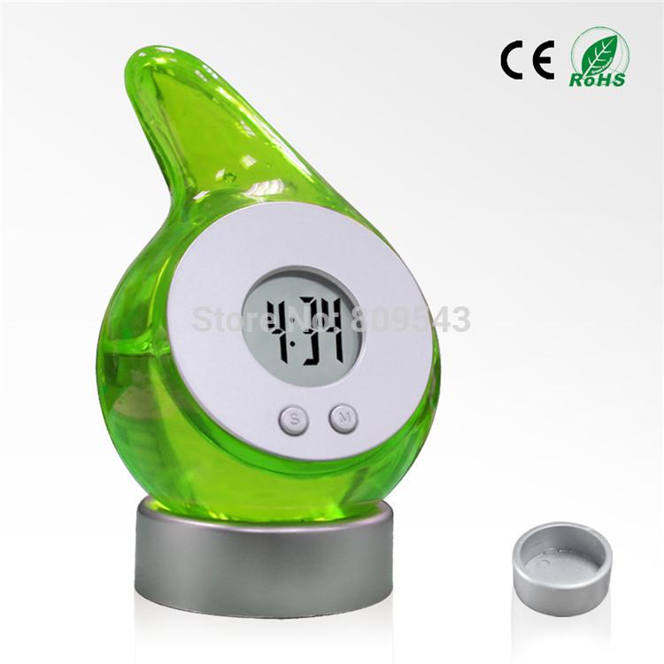 Экологически чистом воды питание термометр будильник цифровой жк-экран воды питание энергии(china (mainland))