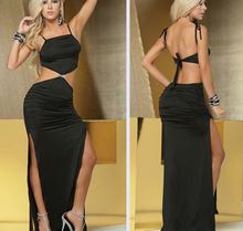 Women's long skit sexy lingerie women's Sexy Pajamas Bars nightclubs clothing Black purple Size M L XL XXL Free shipping