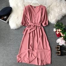 נשים לחצן V צוואר קצר שרוולים ארוך שמלה עם חגורת חאקי אדום כחול שיפון קיץ שמלת 10 צבעים(China)