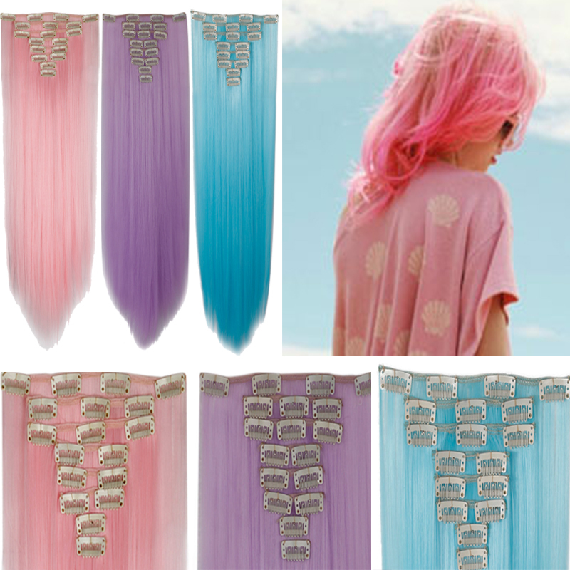 2015 New Fashion Clip In Full Head Hair Extensions Pink Purple Blue Free Shipping(China (Mainland))