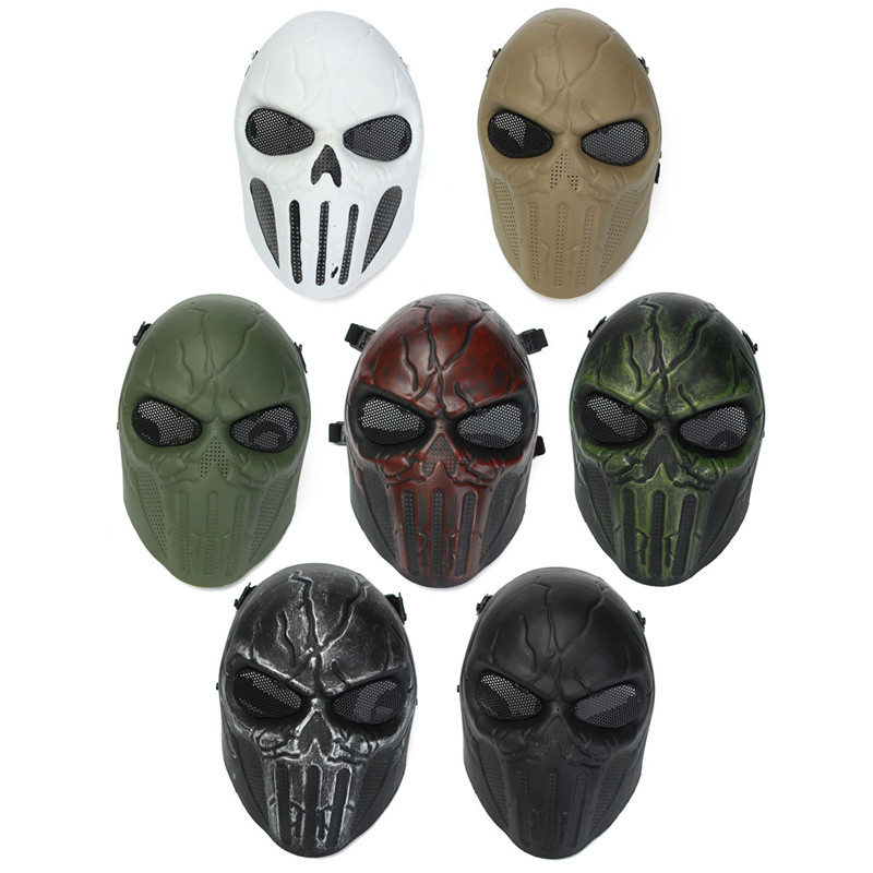 New !! Hot Selling High Quality Fashion Design Eye Mesh Skull Full Face Mask For Outdoor Military Hunting War Game 7 Colors<br><br>Aliexpress
