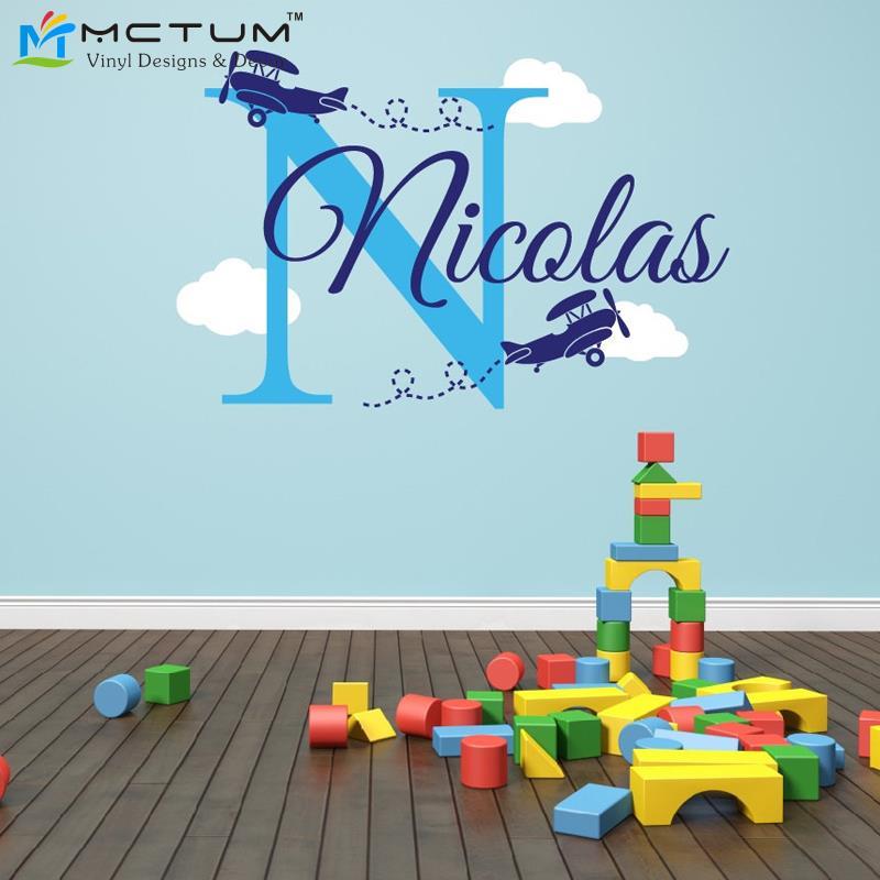 Personalisierte Flugzeug Name Wolken Aufkleber Kinderzimmer Dekor-Flugzeug  Aufkleber Childs Room Decor Vinyl Wandtattoo Flugzeuge
