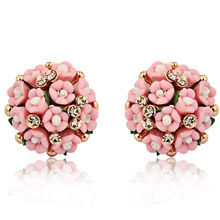 2014 New Arrive Fashion Design  Earrings  For Women Jewelry Ceramic Flower  Rhinestone Stud Earrings Brincos