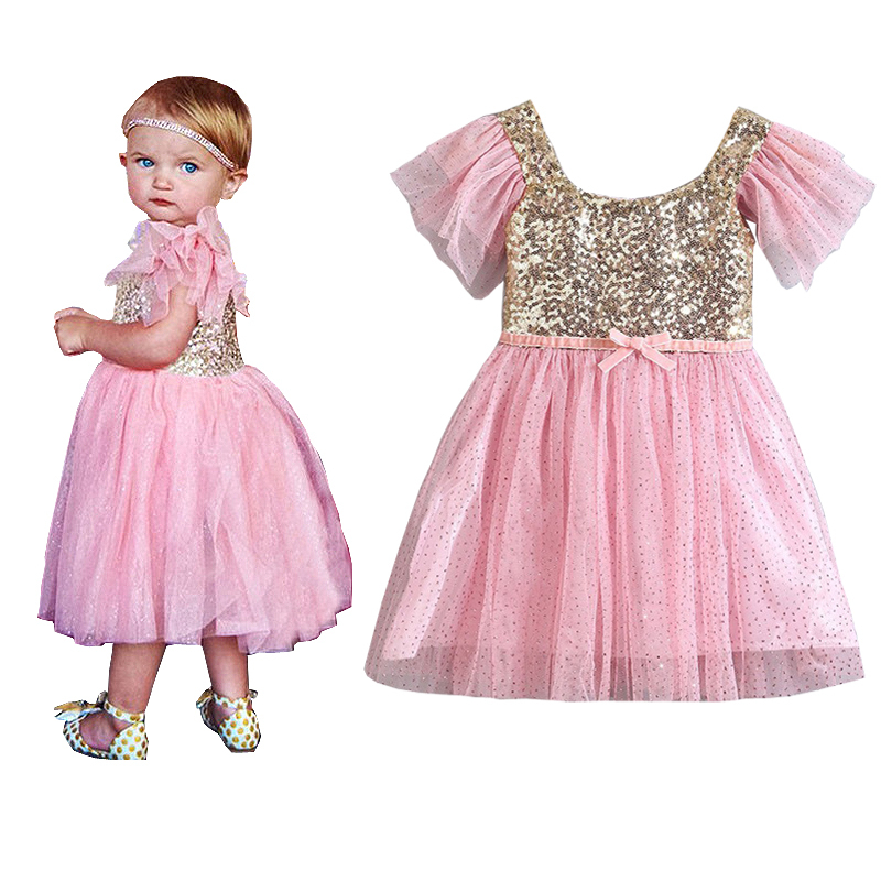 2015 New Tutu style Christmas Flower Girl Dresses cute Sequin Bow Baby Party princess Dress for wedding vestidos infantis(China (Mainland))