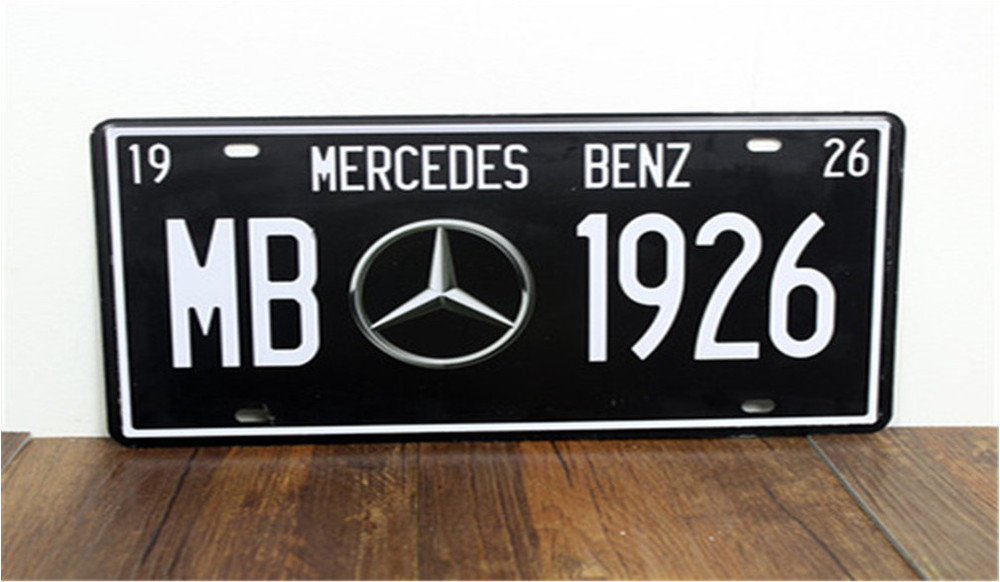 Vintage Car Plates Luxury Cars License Plate Vintage Metal Sign Tin Poster Bar Shop---MERCEDES Custom Neon Sign Neon Beer Signs(China (Mainland))