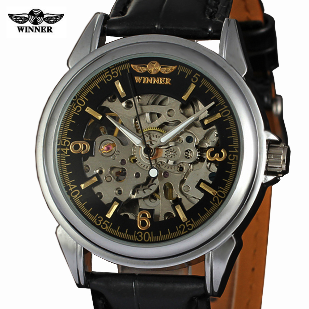 2016 WINNER autoamtic mechanical men watches fashion classic silver Case skeletondial real Leather strap relogio feminino<br><br>Aliexpress