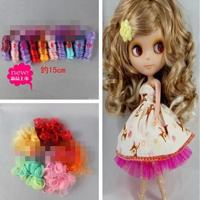 NEW 15cm Length DIY BJD SD Rome Curly Wigs Kurhn Doll Synthetic Fiber High-temperature Wire Wigs For Dolls DIY Free Shipping HOT<br><br>Aliexpress