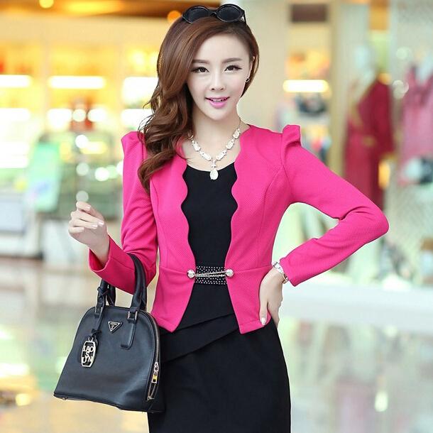2014 New Fashion Spring And Autumn Jacket Ol Elegant And Generous Bow Flounced Blazer Women Coat LJZ047Одежда и ак�е��уары<br><br><br>Aliexpress