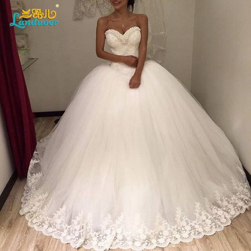 Puffy Бальное платье Принцессы Свадебное Платье 2016 Vestido де noiva Винтаж узелок вернуться Свадебные Платья Бисером Милая Свадебное Платье