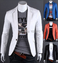 New Arrival 2015 6 Colors Mens royal blue/white/black/green blazer men Slim Fit Coat Linen One Button fashion Coat Casual CL6980(China (Mainland))
