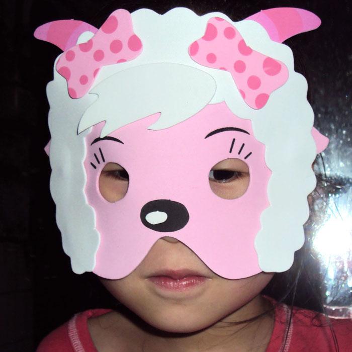 Female goat cartoon mask eva animal face child performance props