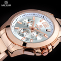 MEGIR Women Or Men Quartz Chronograph Watch Rose Gold Steel Band Bracelet Watch Waterproof Fashion Women
