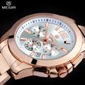 MEGIR Women Or Men Quartz Chronograph Watch Rose Gold Steel Band Bracelet Watch Waterproof Fashion Women