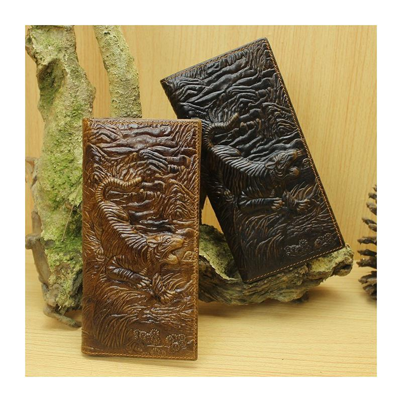 New High Quality Vintage 3D Tiger Prints 100 Genuine Leather Cowhide Men Long Bifold Wallet Card