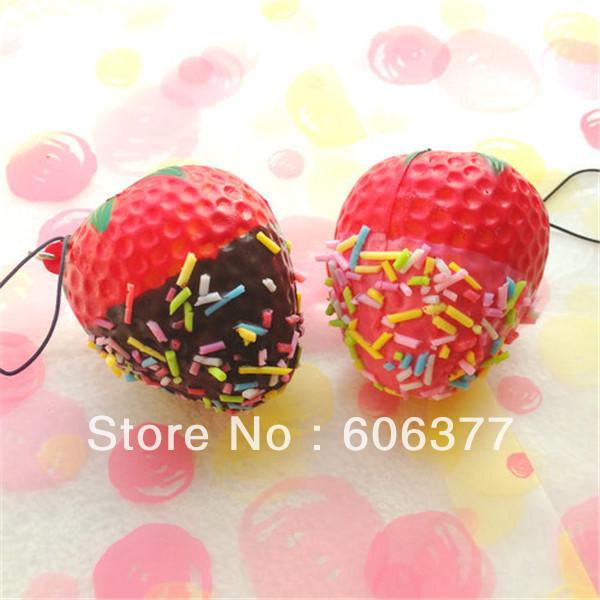 25pcs/lot New 2 Styles Strawberry Squishy Charm Super squishy !