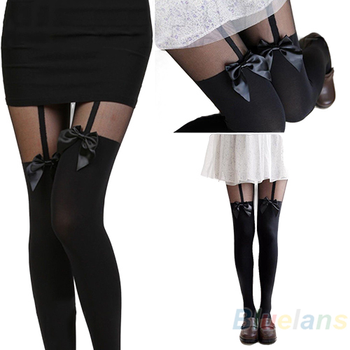 New Vintage Sexy Cute Stockings Pantyhose Tattoo Mock Bow Suspender Sheer Tights 003L(China (Mainland))