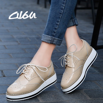O16U Women Platform Oxfords Brogue Flats Shoes Patent Leather Lace Up Pointed Toe Brand Female Footwear Shoes for women Creepers