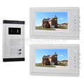 DIYSECUR 7 Apartment Video Intercom Doorbell System IR Camera Touch Key for 2 Families