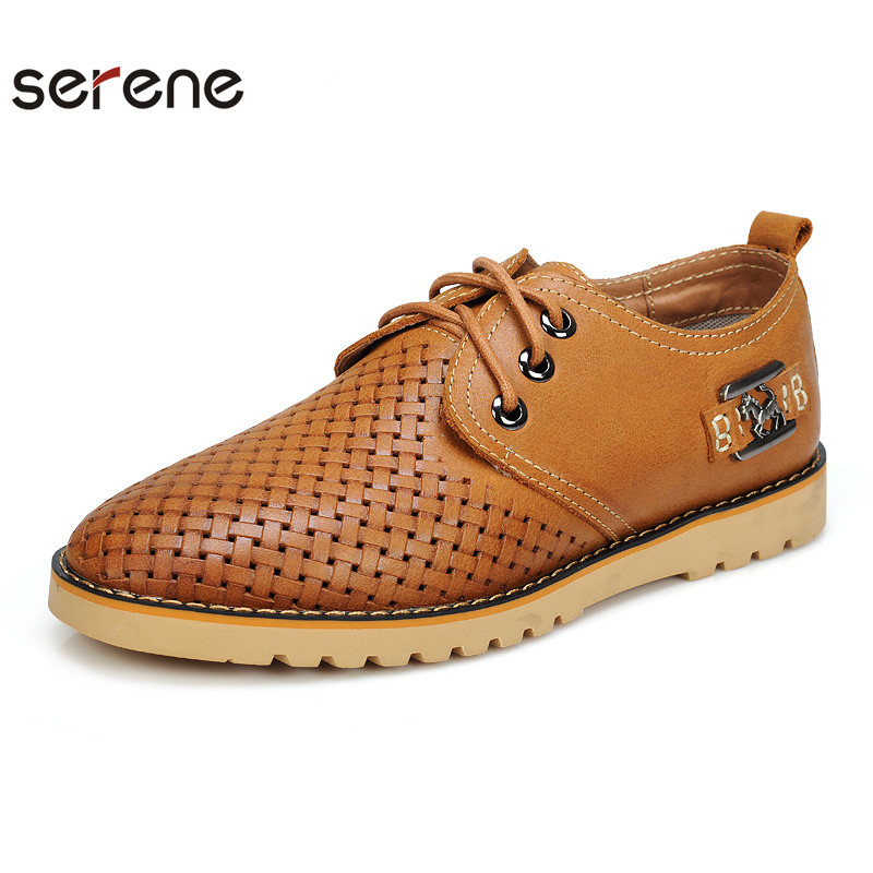 SERENE Leather Men's Shoes Vintage Shoes Business Formal Brogue Round Toe Men Mocassins Comfortable breathable flat shoes 9129(China (Mainland))