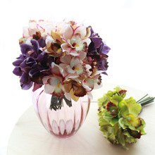 Free shipping (7 flower heads/piece)artificial flowers cheap orchid decoration flower for home decoration(China (Mainland))