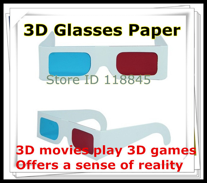 Hot selling 50pcs/lot :paper anaglyph 3d glasses paper 3d glasses view anaglyph red cyan red/blue 3d glass(China (Mainland))