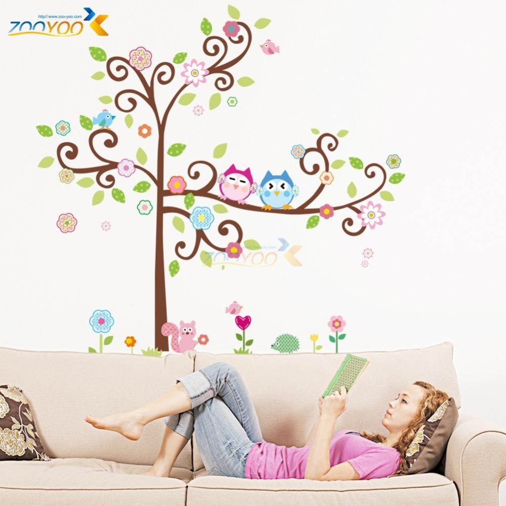 Online get cheap bunga kartun pohon for Mural kartun