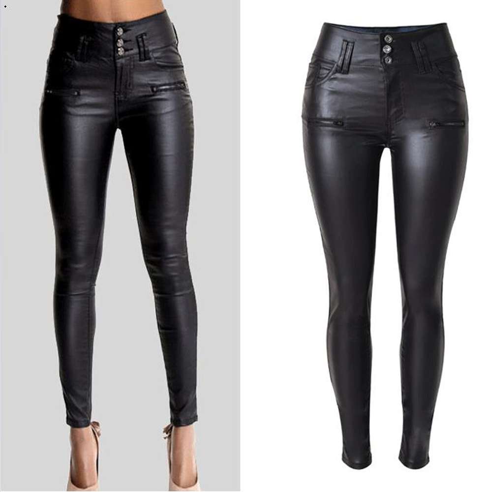 skinny women pu leather pants high waist pencil pants. Black Bedroom Furniture Sets. Home Design Ideas