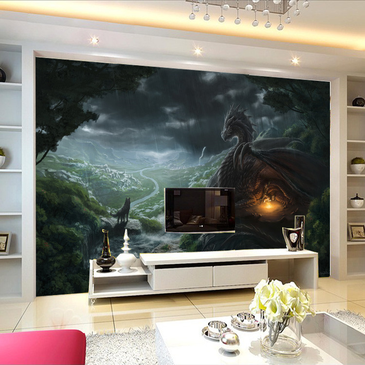 Dragon and wolf photo wallpaper custom large wallpaper for Dragon mural wallpaper