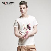 Viishow 2016 Summer t shirt men tops Short-Sleeve T-shirt Casual Slim fit O-Neck cute dog Print Animal tshirt men S-3XL