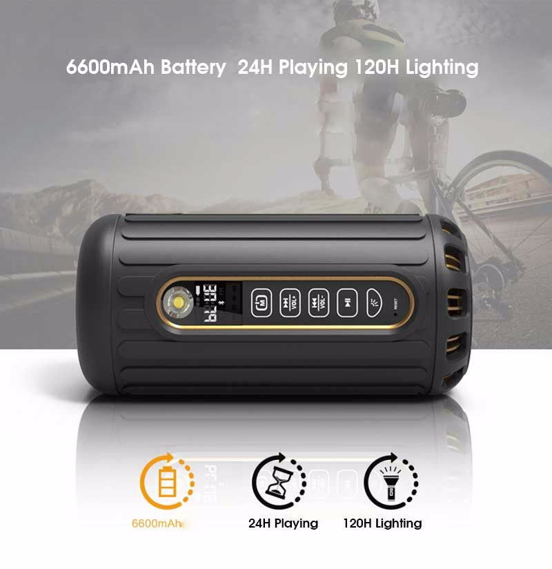 2015 New Outdoor Bike Subwoofer Bluetooth Speaker Waterproof Wireless 6600mAh Powerful Portable Speakers With Card Limited Sale