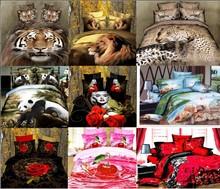 dropship polyester 3D flower tiger lion  leopard  Monroe rose bedding bed sheet set bedclothes duvet cover set bedding set(China (Mainland))