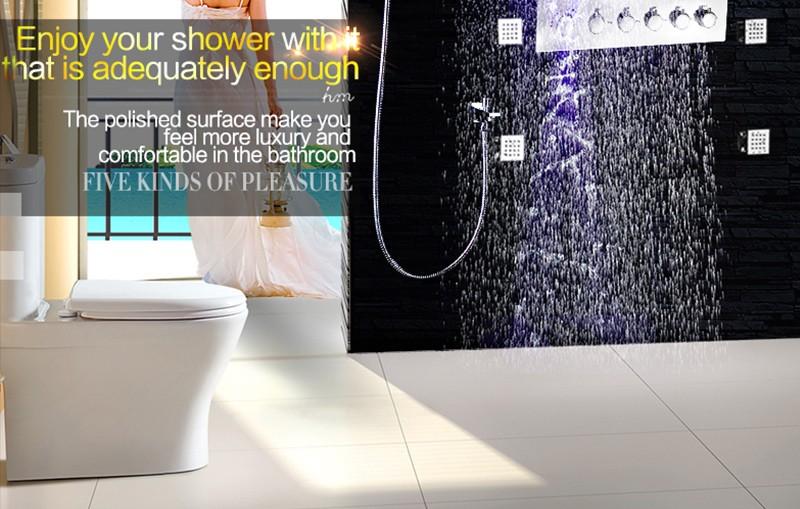 Купить Hm 5 функций Душ Современный Роскошный Европейский Стиль Большой SUS304 Смеситель Водопад Осадков Ванная Комната Светодиодный Потолочный