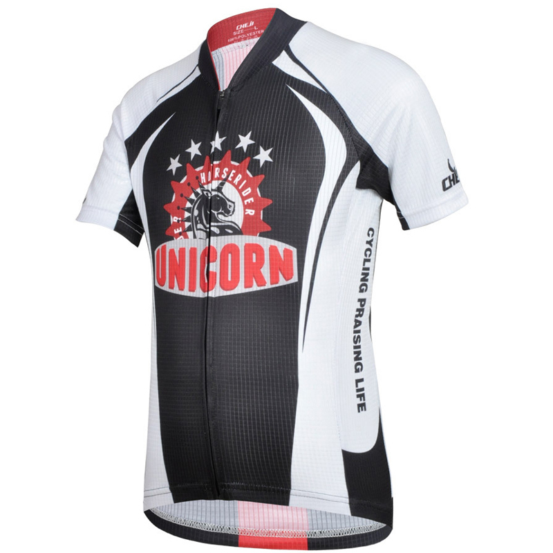 Cheji Boys Unicorn Short Sleeve Cycling Jersey Kids Bike Riding Clothes Black CYSS5855(China (Mainland))