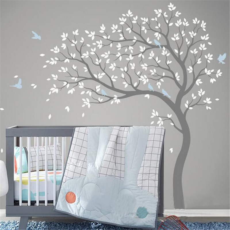 Free Shipping Large Size 191x178cm Vinyl Fall Tree Extended WhiteTree Wall Decal Art Wall Stickers Decorative Sticker(China (Mainland))