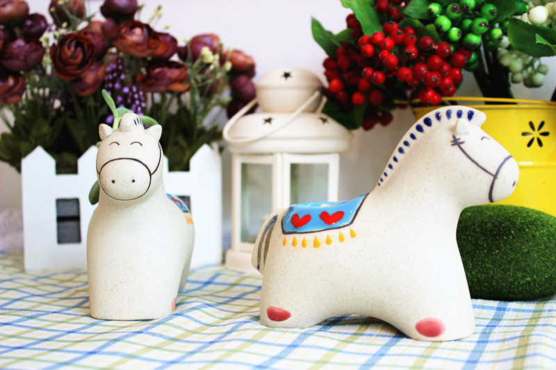 Handmade horse flower pot planter ceramic garden pot home decoration craft garden supplies two patterns mixed(China (Mainland))
