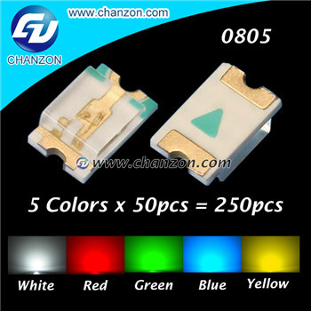 Гаджет  5 Colors x 50pcs = 250pcs (White Red Green Blue Yellow) Super Bright SMD/SMT 0805 2012 LED Light Emitting Diode LED Diode  Kit None Электронные компоненты и материалы