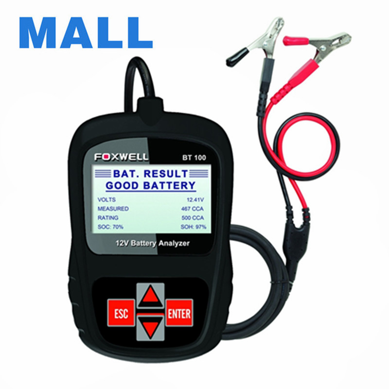 2016 Genuine Original Foxwell BT100 12V Car Battery Tester Support Multi-Language as Launch bst-460 Battery Tester Free Shipping(China (Mainland))