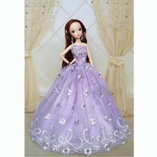 2016 Purple Handmade New Sweet Wedding Gown Dresses Outfit Girl Party Princess Doll Xmas Gift(China (Mainland))