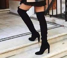 2019 Kış Ayakkabı Kadın Çizmeler Diz Üzerinde Streç Akın Botları Slip-on Yüksek topuklu kadın ayakkabısı Ince Konfor Bayanlar ayakkabı(China)