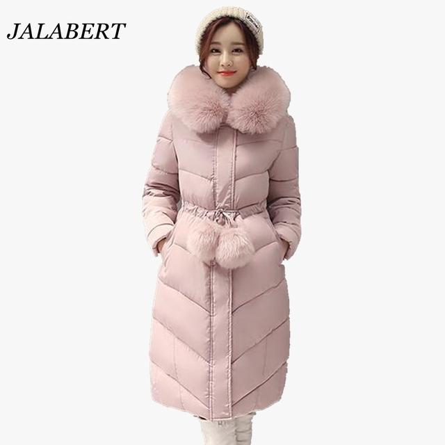 2016 женщин большой меховой воротник длинные участки Slim Down ватник женщина зима утепление талии дамы пальто с меховой шар