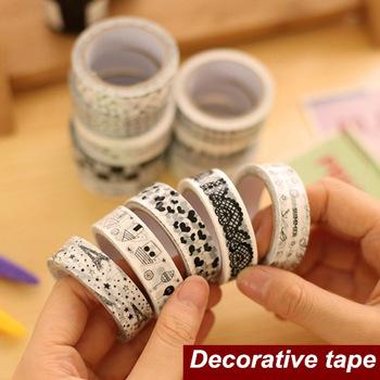 2015 new black blanc bande dessin e adh sif ruban adh sif for Bande adhesive decorative
