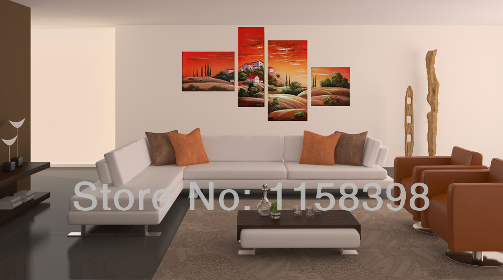 Hand Painted Modern Home Wall Art For Living Dining Room