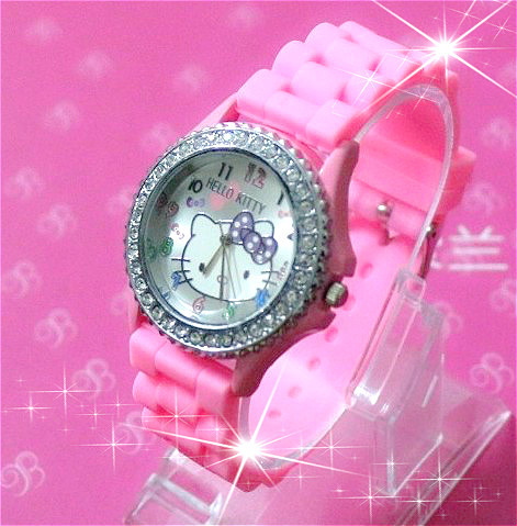 Hot sales Fashion Hello Kitty Rhinestone Silicone Jelly Relojes Mujer Sport Quartz Ladies Dress Watch Children Cartoon Watches - Qin billion trading company store