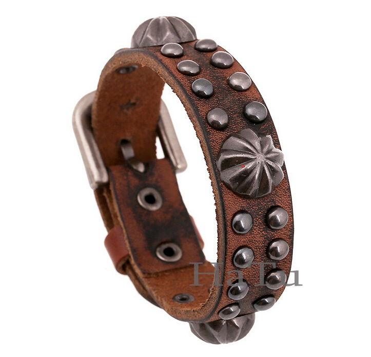 Handmade braided charm Genuine Leather bracelet men fashion vintage engraved bracelets bangles rock jewelry pulseira masculina - First-Rate Jewelry store