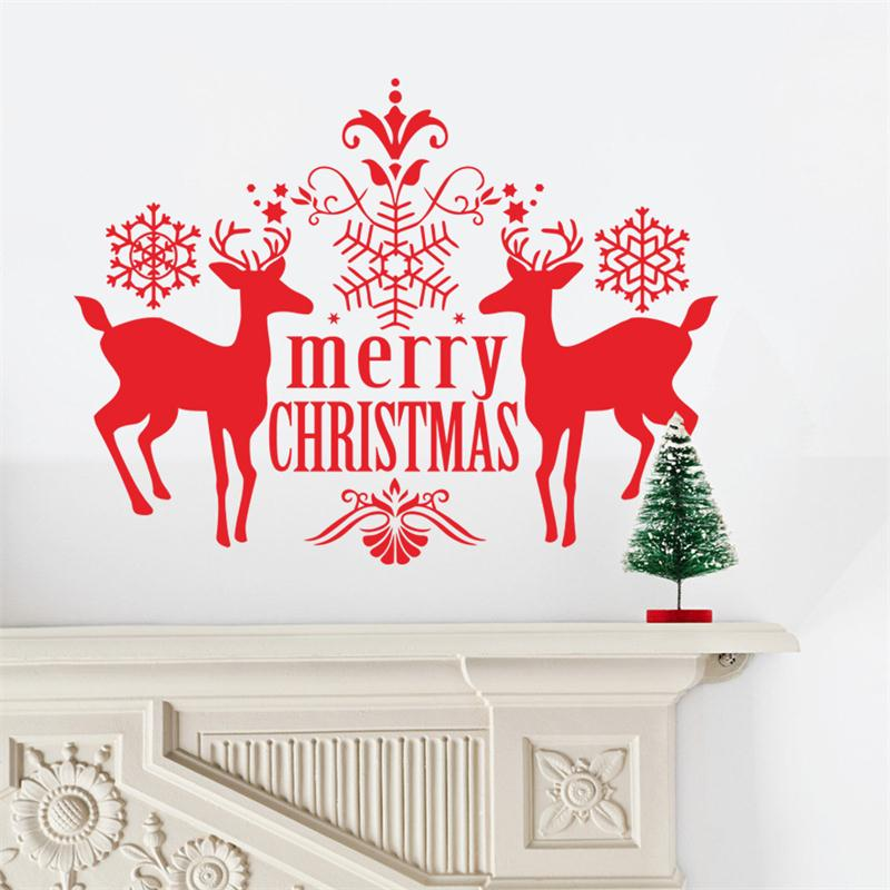 Buy 2016 Newest Xmas Creative Red Deer Snowflake Christmas New Year Home Decal