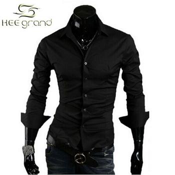 Men Slim Solid Shirts Male Casual Stylish Shirt Fashion Camisa Masculina MCL004