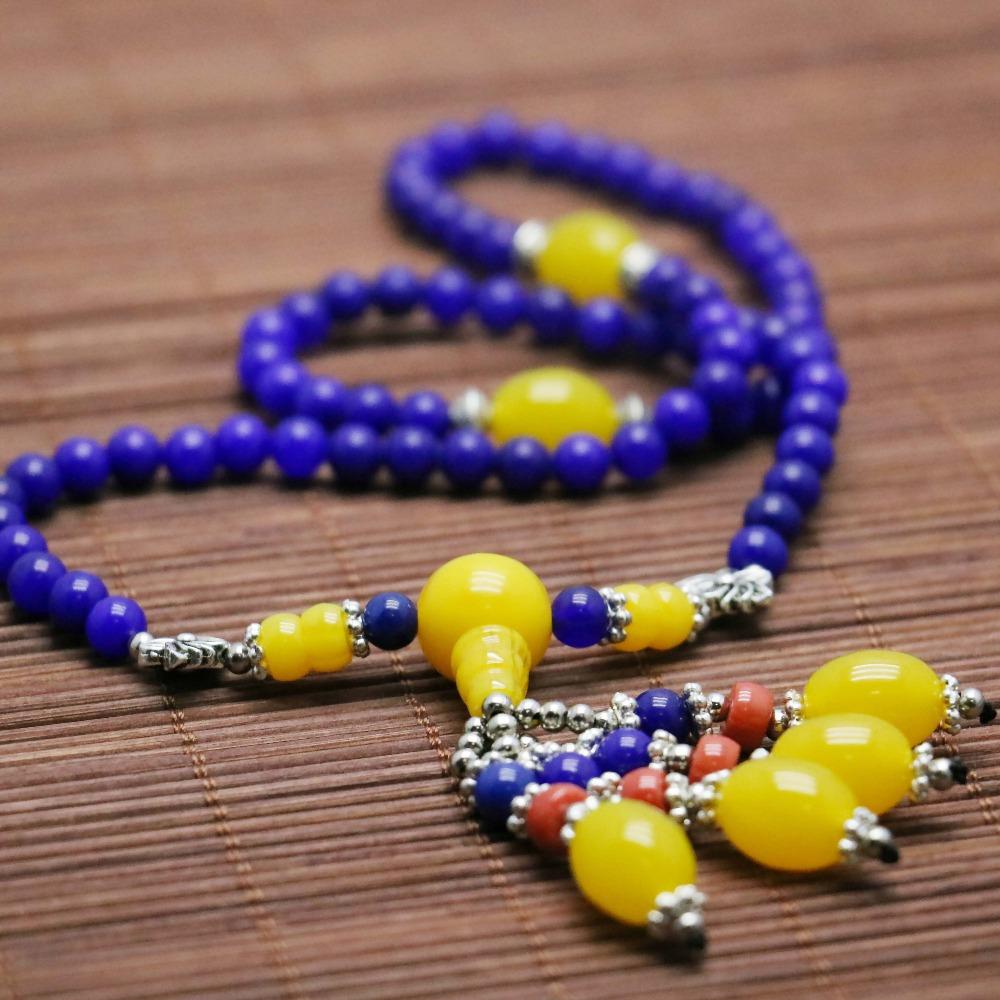 Retro 6mm Lapis lazuli Chalcedony Beads Bracelet hand chain for women girls Natural Stone Ladies Pendant Thailand Buddha(China (Mainland))