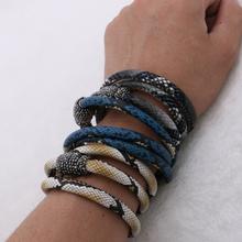 Hot!! Snake skin bracelet 3 circle Leather Bracelet magnet Clip Clasp pave cz charm bracelet for women 2016 NEW ARRIVAL 208(China (Mainland))