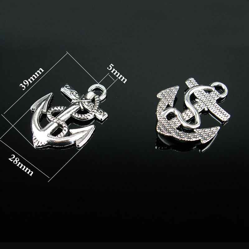 for 5mm round leather ship's anchor kirsite jewelry parts P-024(China (Mainland))